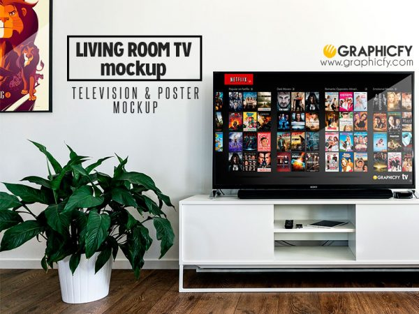 Living Room TV Mock Up Template