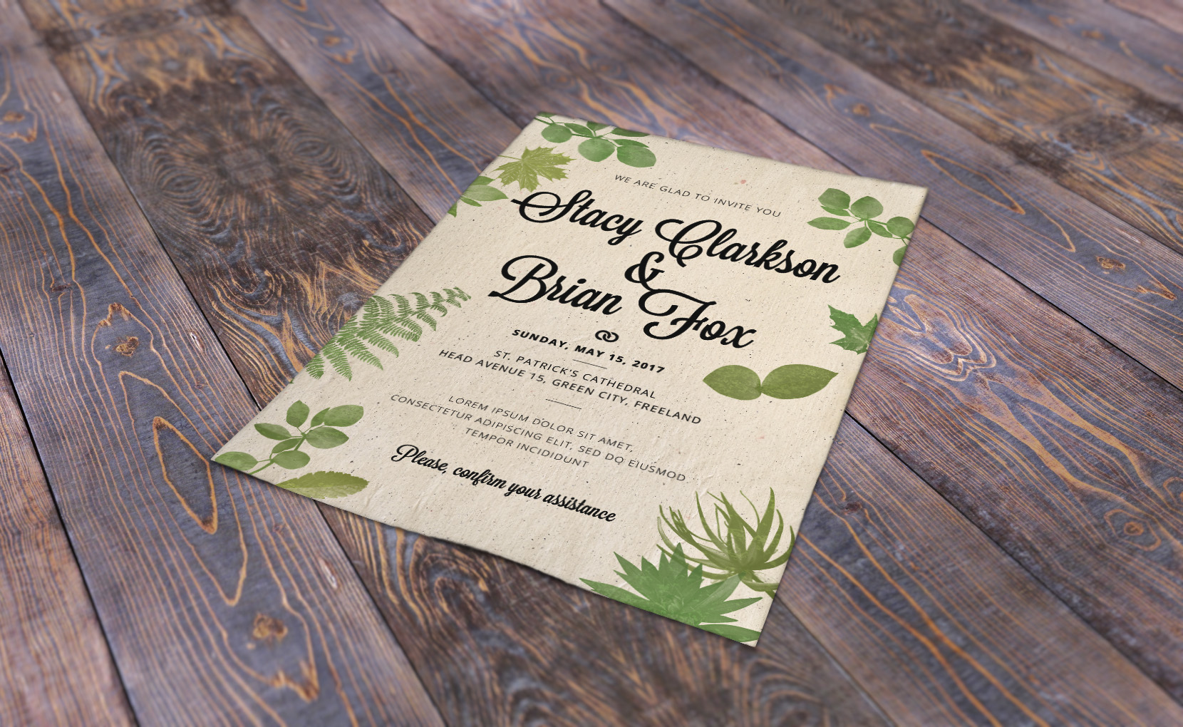Foliage Wedding Invitation Template