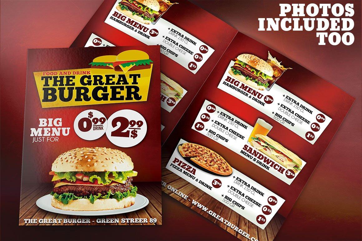 Burger Menu Template PSD
