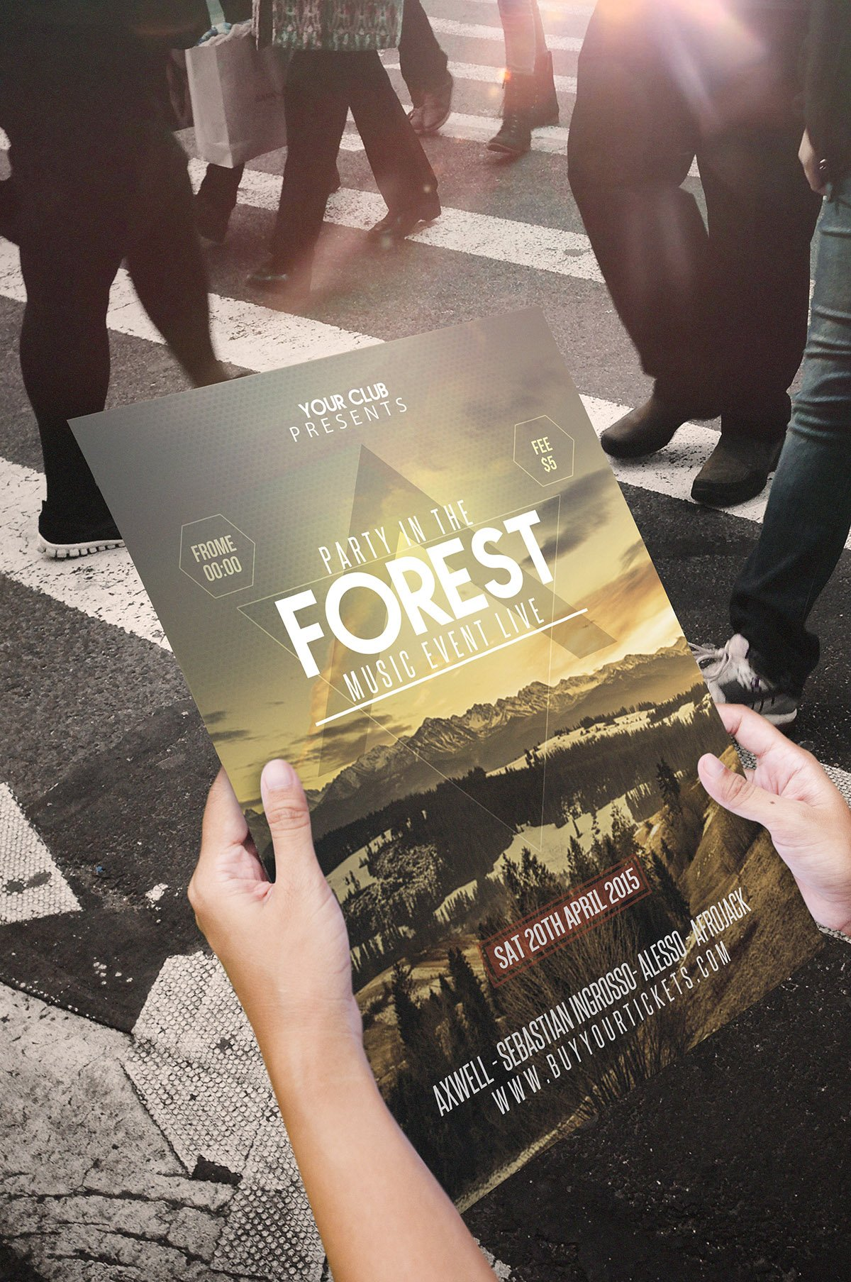 Forest Party Festival Flyer Template PSD