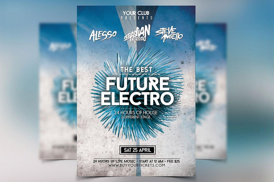 Futuristic Festival Flyer Template PSD