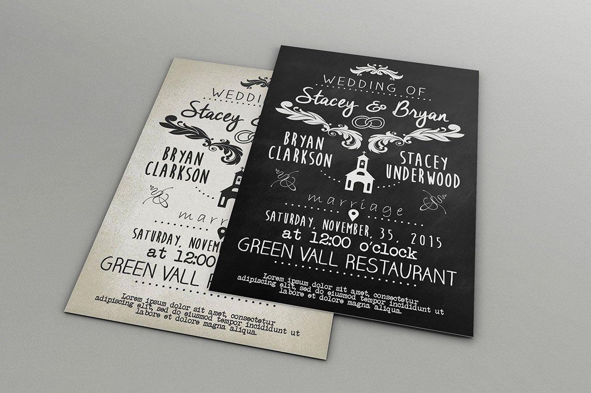 Vintage Wedding Invitation Template PSD