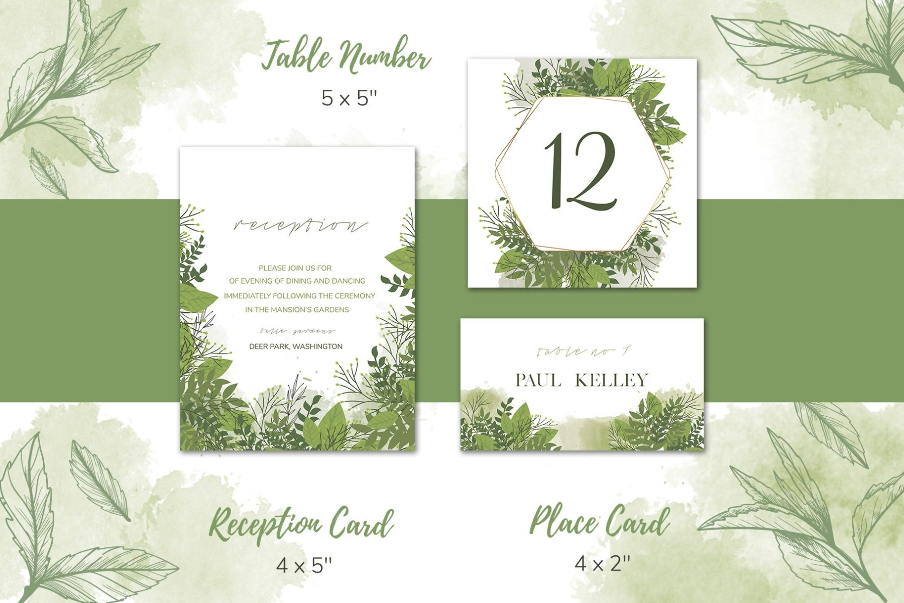 Green Floral Wedding Invitation Set